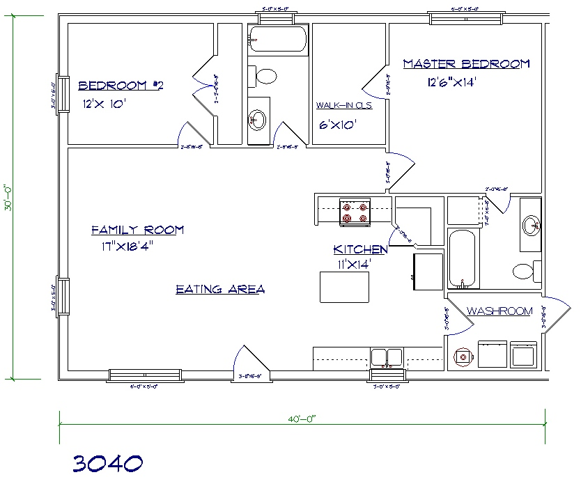 2 Bed, 2 Bath   30u0027x40u0027 1200 Sq. Ft.
