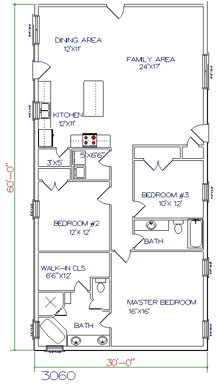 3 Bed, 2 Bath   30u0027x60u0027 1800 Sq. Ft.
