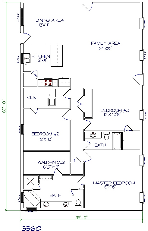 3 bed 2 bath 35x60 2100 sq ft