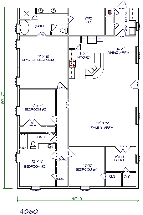 5 bed 2 bath 40x60 2400 sq ft - House Floor Plans With Loft