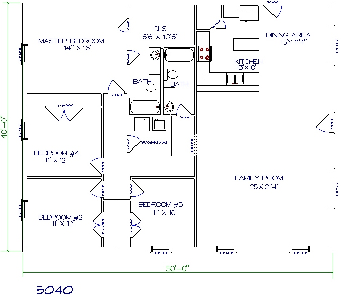 4 bed 2 bath 50x40 2000 sq ft
