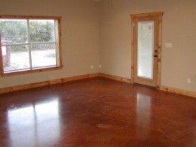 Stained concrete floor in Barndominium